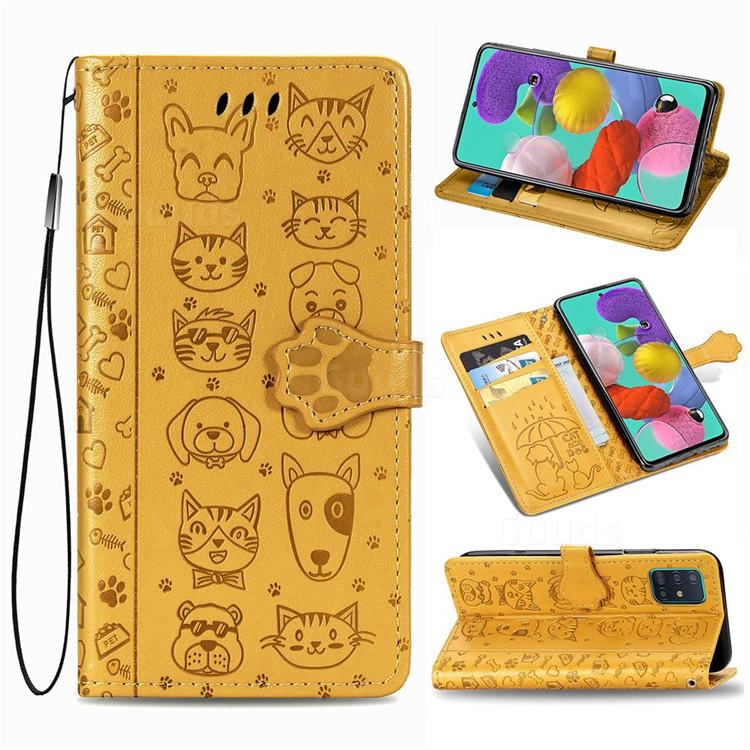 Embossing Dog Paw Kitten and Puppy Leather Wallet Case for Samsung Galaxy A71 5G - Yellow