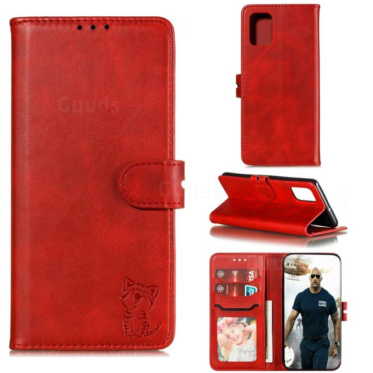 Embossing Happy Cat Leather Wallet Case for Samsung Galaxy A71 5G - Red