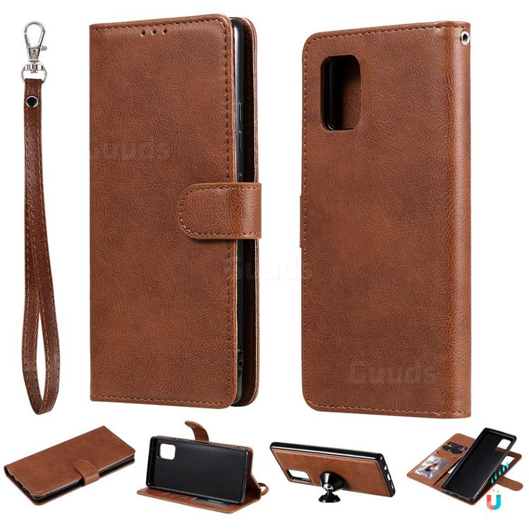 Retro Greek Detachable Magnetic PU Leather Wallet Phone Case for Samsung Galaxy A71 5G - Brown
