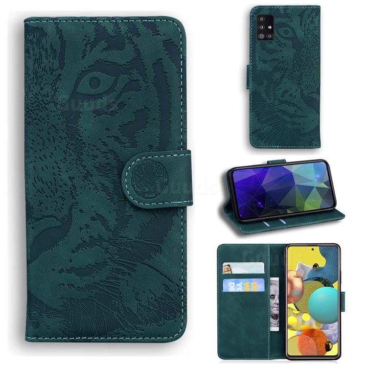 Intricate Embossing Tiger Face Leather Wallet Case for Samsung Galaxy A71 5G - Green