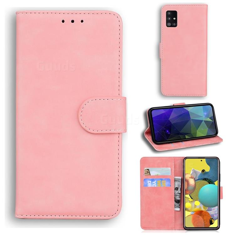Retro Classic Skin Feel Leather Wallet Phone Case for Samsung Galaxy A71 5G - Pink