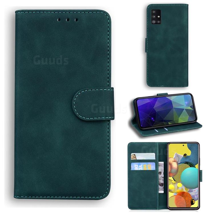 Retro Classic Skin Feel Leather Wallet Phone Case for Samsung Galaxy A71 5G - Green