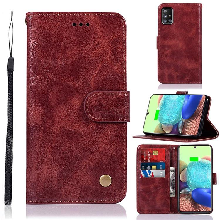 Luxury Retro Leather Wallet Case for Samsung Galaxy A71 5G - Wine Red