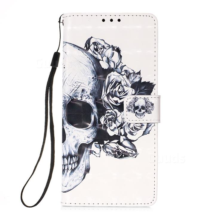 Skull Flower 3D Painted Leather Wallet Case for Samsung Galaxy A71 5G