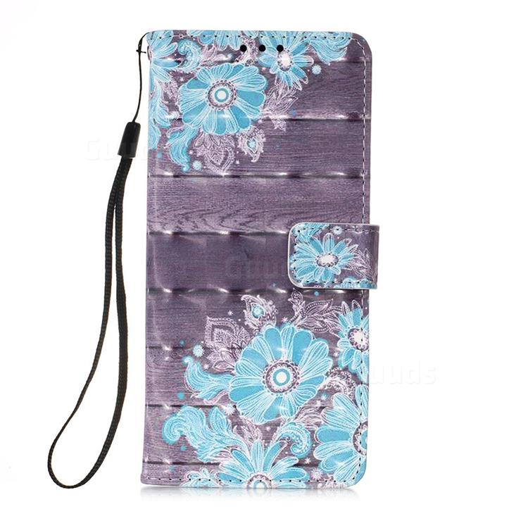 Blue Flower 3D Painted Leather Wallet Case for Samsung Galaxy A71 5G