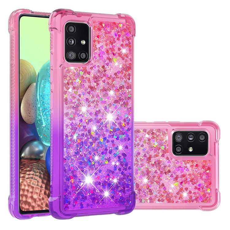 Rainbow Gradient Liquid Glitter Quicksand Sequins Phone Case for Samsung Galaxy A71 5G - Pink Purple