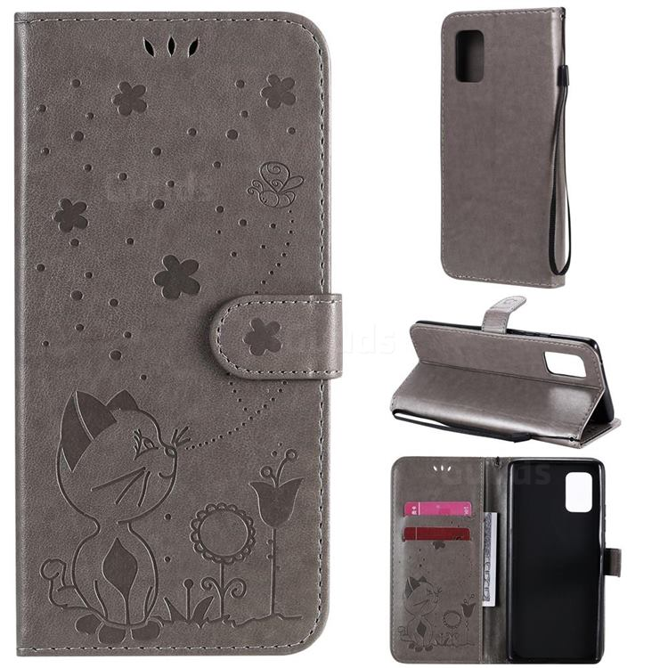 Embossing Bee and Cat Leather Wallet Case for Samsung Galaxy A71 5G - Gray