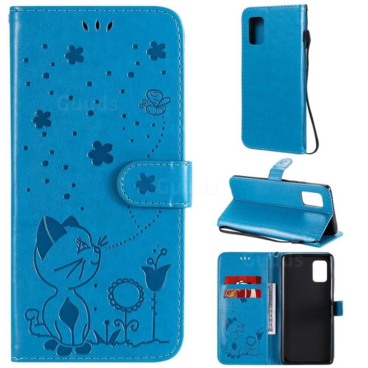 Embossing Bee and Cat Leather Wallet Case for Samsung Galaxy A71 5G - Blue
