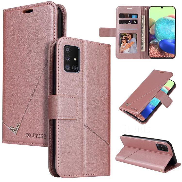 GQ.UTROBE Right Angle Silver Pendant Leather Wallet Phone Case for Samsung Galaxy A71 5G - Rose Gold