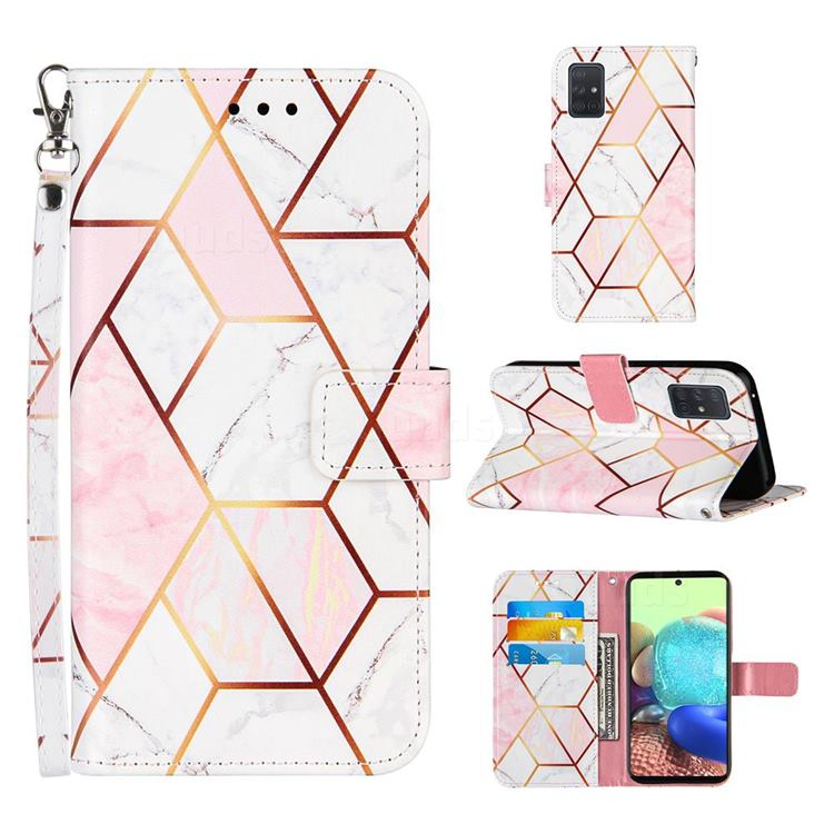 Pink White Stitching Color Marble Leather Wallet Case for Samsung Galaxy A71 5G