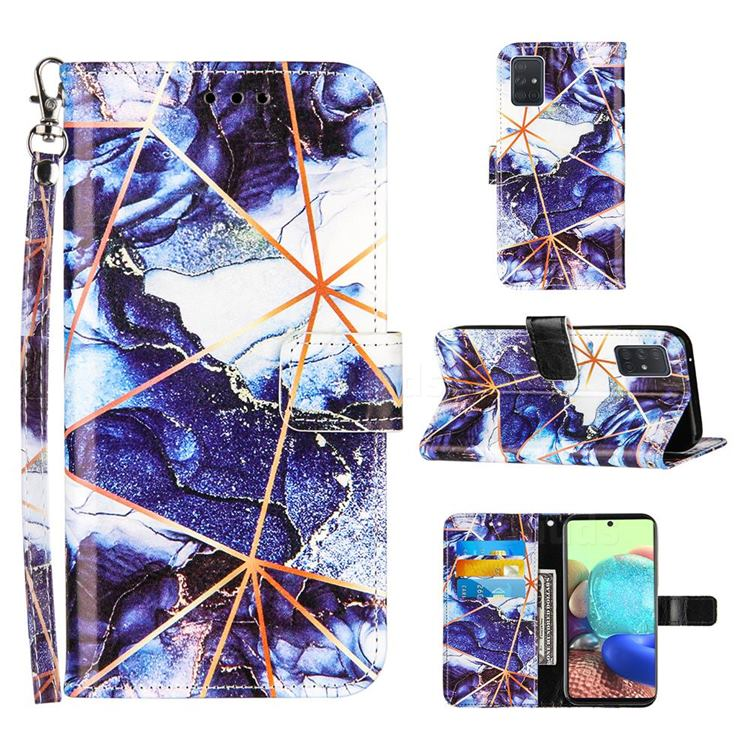 Starry Blue Stitching Color Marble Leather Wallet Case for Samsung Galaxy A71 5G