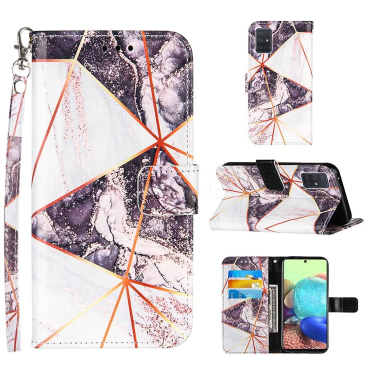 Black and White Stitching Color Marble Leather Wallet Case for Samsung Galaxy A71 5G