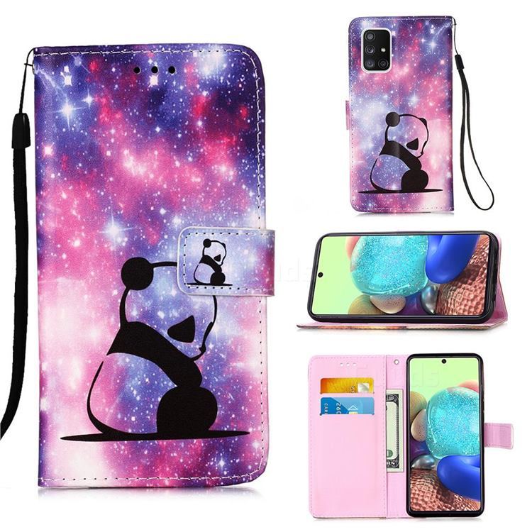 Panda Baby Matte Leather Wallet Phone Case for Samsung Galaxy A71 5G
