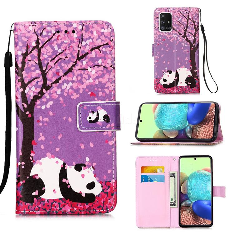 Cherry Blossom Panda Matte Leather Wallet Phone Case for Samsung Galaxy A71 5G