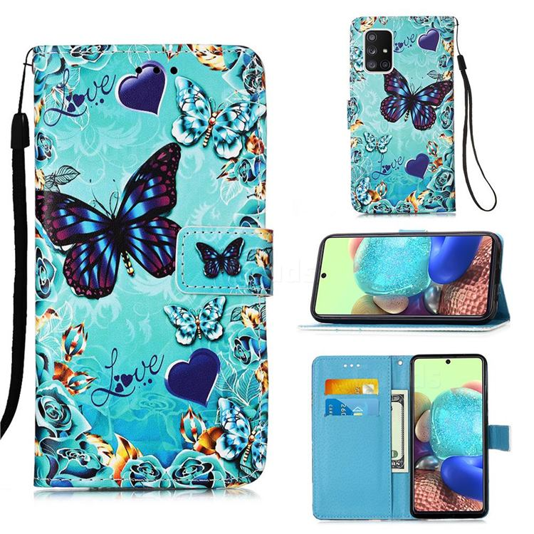 Love Butterfly Matte Leather Wallet Phone Case for Samsung Galaxy A71 5G