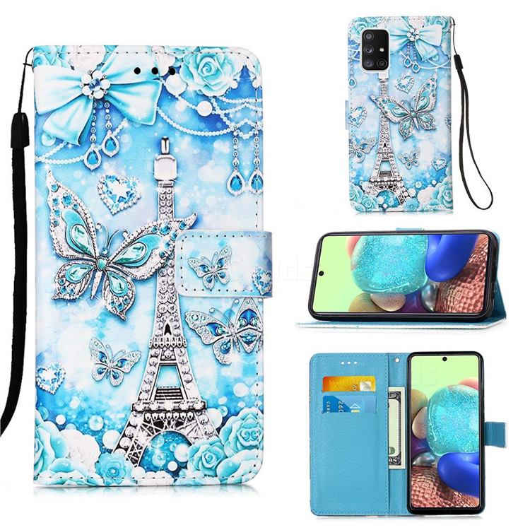 Tower Butterfly Matte Leather Wallet Phone Case for Samsung Galaxy A71 5G