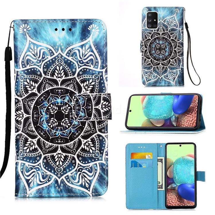 Underwater Mandala Matte Leather Wallet Phone Case for Samsung Galaxy A71 5G