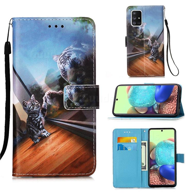 Mirror Cat Matte Leather Wallet Phone Case for Samsung Galaxy A71 5G