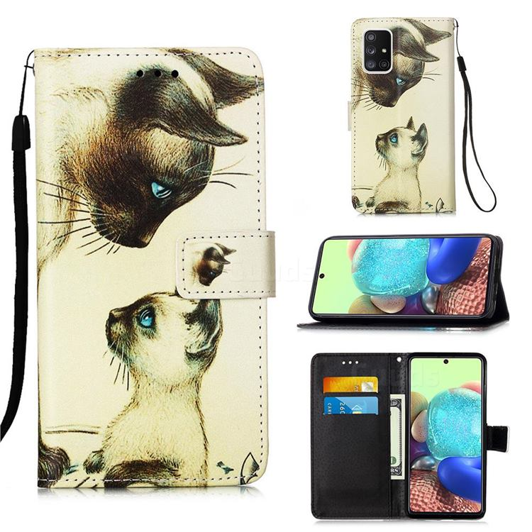 Cat Confrontation Matte Leather Wallet Phone Case for Samsung Galaxy A71 5G
