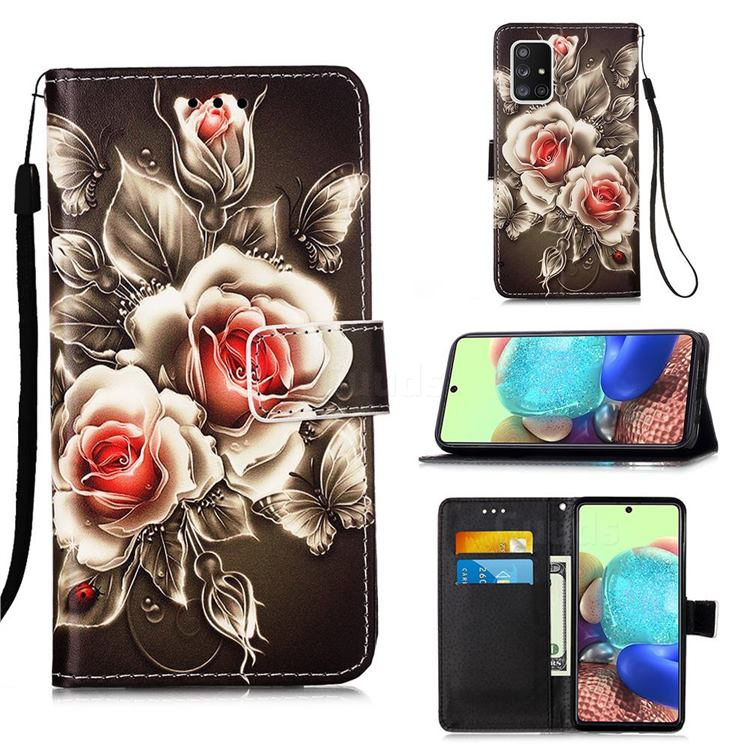 Black Rose Matte Leather Wallet Phone Case for Samsung Galaxy A71 5G