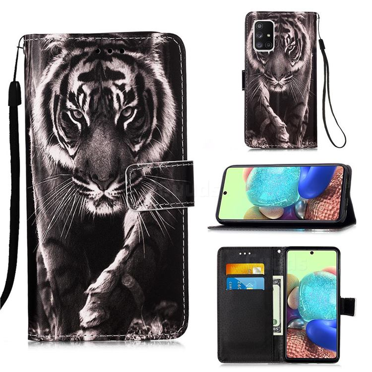 Black and White Tiger Matte Leather Wallet Phone Case for Samsung Galaxy A71 5G
