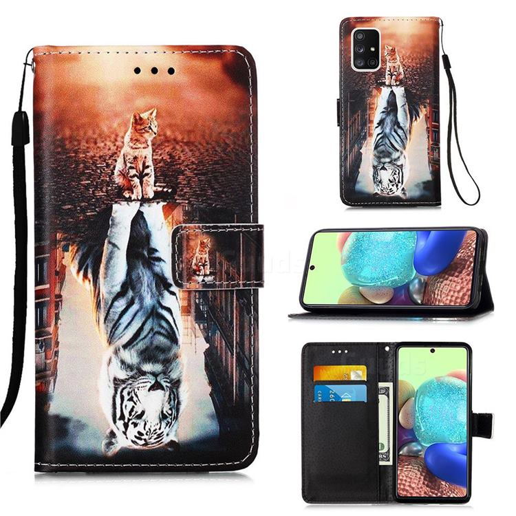 Cat and Tiger Matte Leather Wallet Phone Case for Samsung Galaxy A71 5G