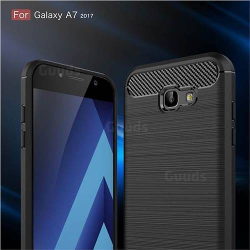 Luxury Carbon Fiber Brushed Wire Drawing Silicone TPU Back Cover for Samsung Galaxy A7 2017 A720 (Black)