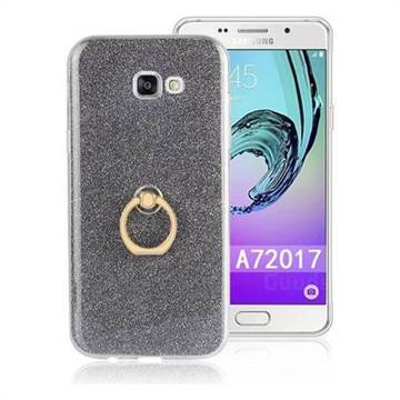Luxury Soft TPU Glitter Back Ring Cover with 360 Rotate Finger Holder Buckle for Samsung Galaxy A7 2017 A720 - Black