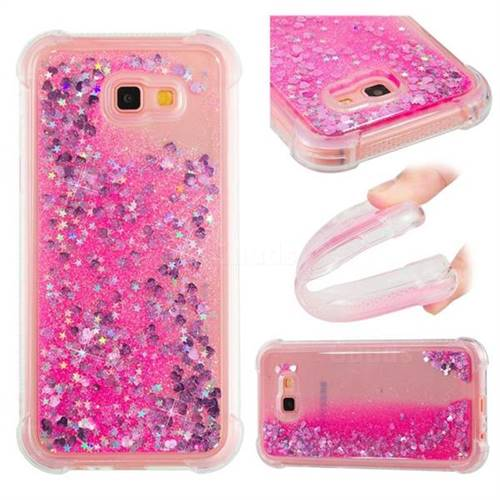 Dynamic Liquid Glitter Sand Quicksand TPU Case for Samsung Galaxy A7 2017 A720 - Pink Love Heart