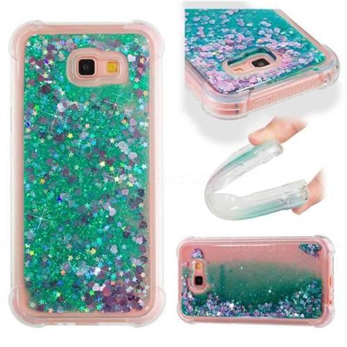 Dynamic Liquid Glitter Sand Quicksand TPU Case for Samsung Galaxy A7 2017 A720 - Green Love Heart
