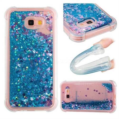 Dynamic Liquid Glitter Sand Quicksand TPU Case for Samsung Galaxy A7 2017 A720 - Blue Love Heart