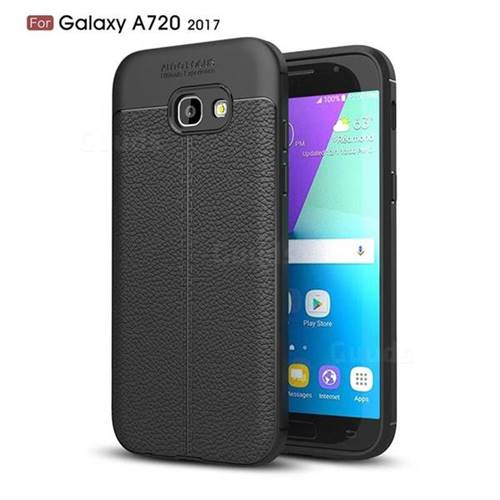 Luxury Auto Focus Litchi Texture Silicone TPU Back Cover for Samsung Galaxy A7 2017 A720 - Black