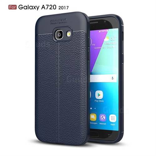 Luxury Auto Focus Litchi Texture Silicone TPU Back Cover for Samsung Galaxy A7 2017 A720 - Dark Blue