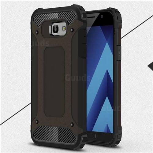 King Kong Armor Premium Shockproof Dual Layer Rugged Hard Cover for Samsung Galaxy A7 2017 A720 - Black Gold