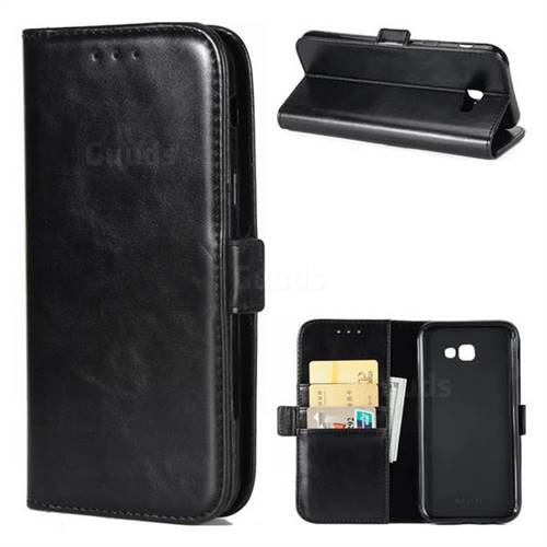 Luxury Crazy Horse PU Leather Wallet Case for Samsung Galaxy A7 2017 A720 - Black