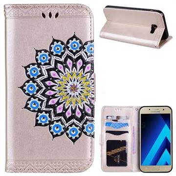 Datura Flowers Flash Powder Leather Wallet Holster Case for Samsung Galaxy A7 2017 A720 - Golden
