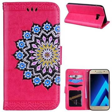 Datura Flowers Flash Powder Leather Wallet Holster Case for Samsung Galaxy A7 2017 A720 - Rose