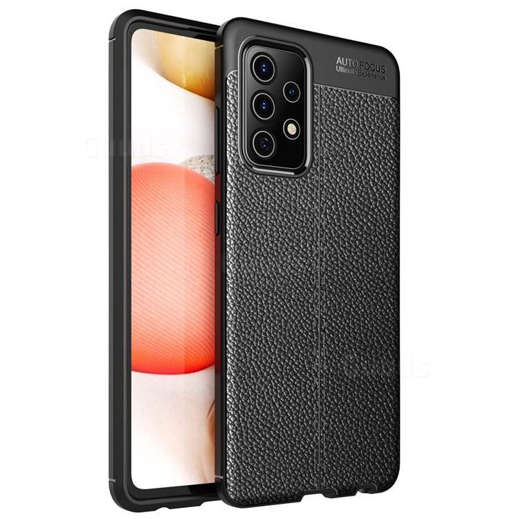 Luxury Auto Focus Litchi Texture Silicone TPU Back Cover for Samsung Galaxy A72 5G - Black