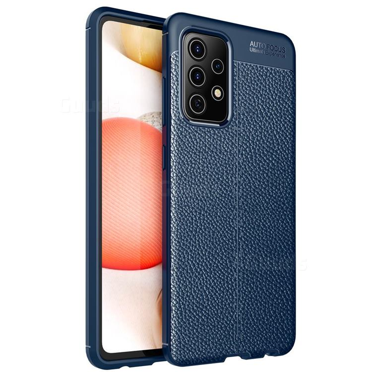 Luxury Auto Focus Litchi Texture Silicone TPU Back Cover for Samsung Galaxy A72 5G - Dark Blue