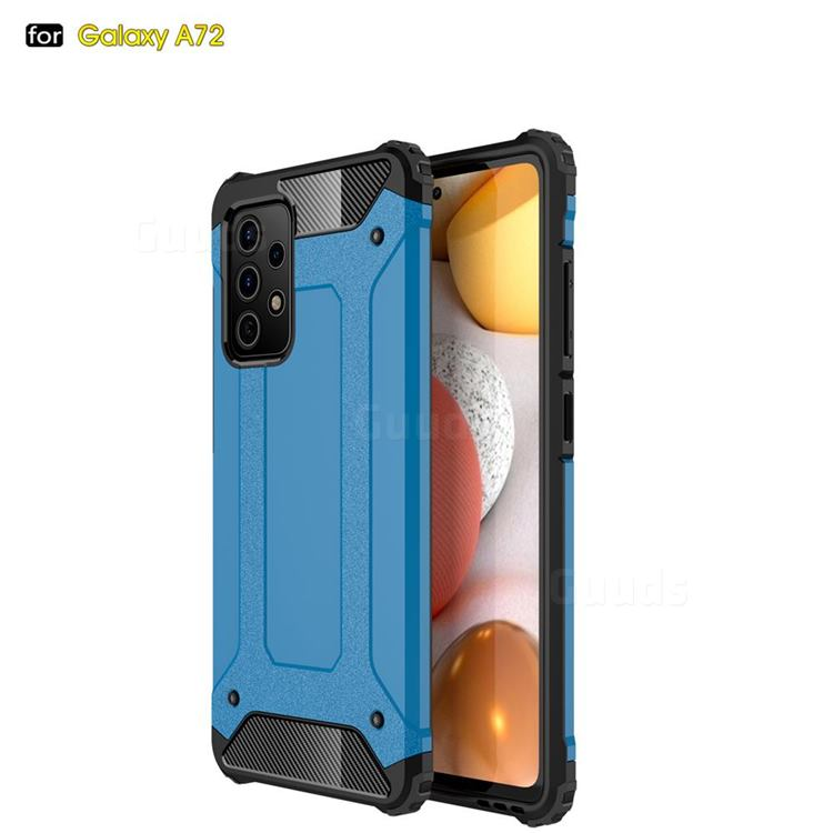 King Kong Armor Premium Shockproof Dual Layer Rugged Hard Cover for Samsung Galaxy A72 5G - Sky Blue