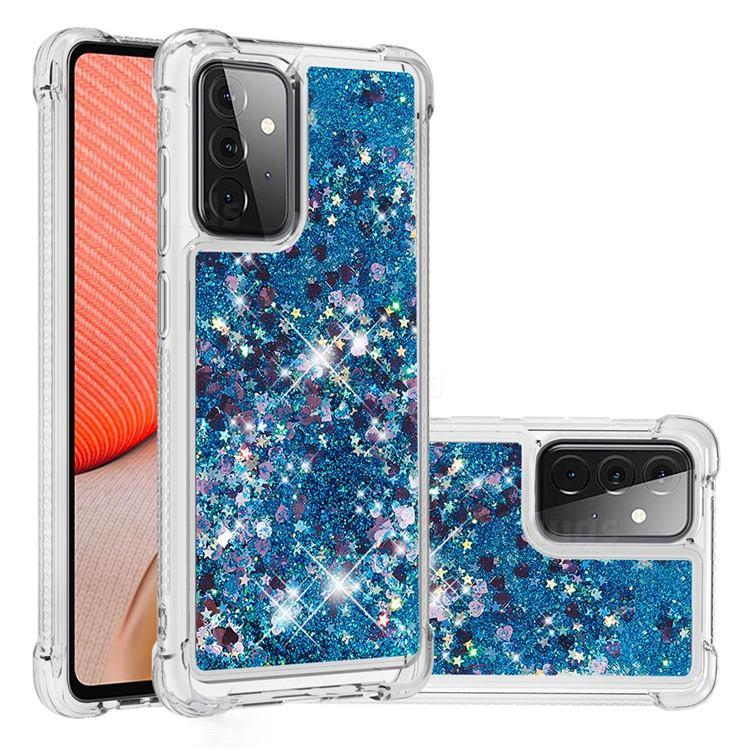 Dynamic Liquid Glitter Sand Quicksand TPU Case for Samsung Galaxy A72 (4G, 5G) - Blue Love Heart