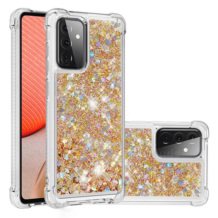 Dynamic Liquid Glitter Sand Quicksand TPU Case for Samsung Galaxy A72 (4G, 5G) - Rose Gold Love Heart