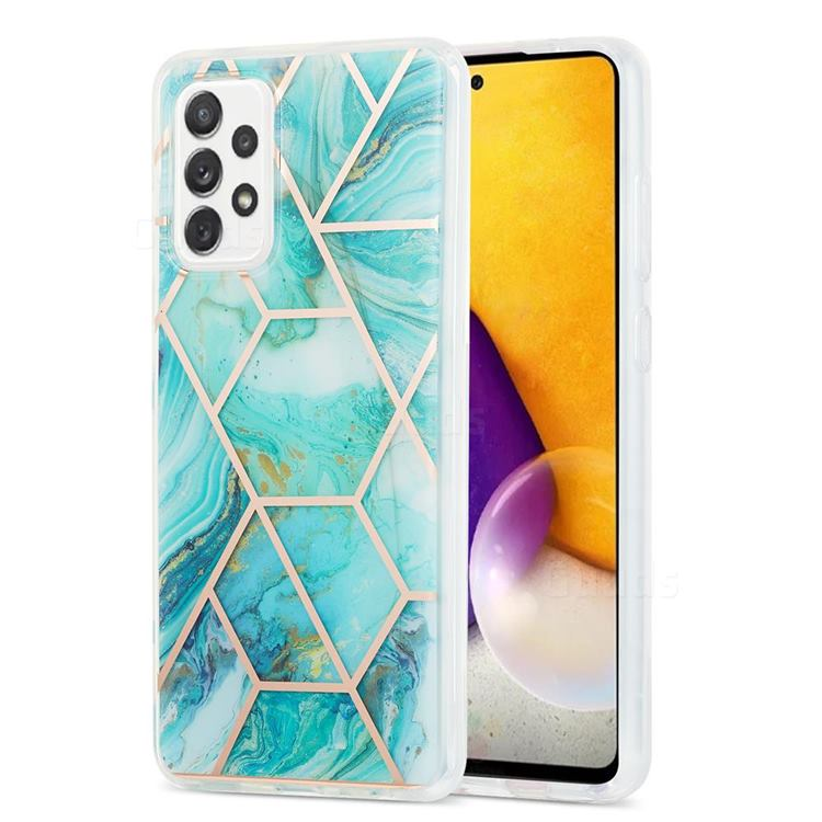 Blue Sea Marble Pattern Galvanized Electroplating Protective Case Cover for Samsung Galaxy A72 (4G, 5G)