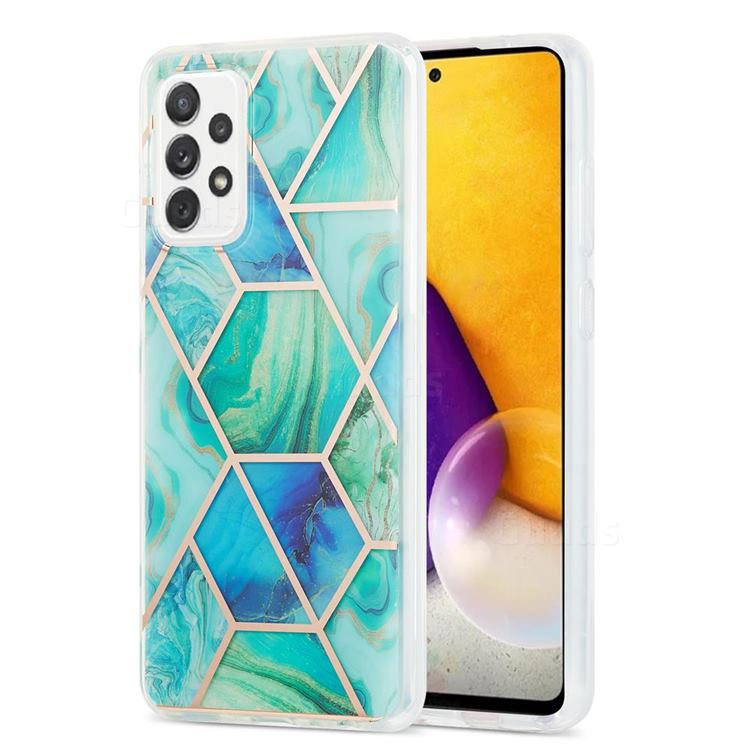 Green Glacier Marble Pattern Galvanized Electroplating Protective Case Cover for Samsung Galaxy A72 (4G, 5G)