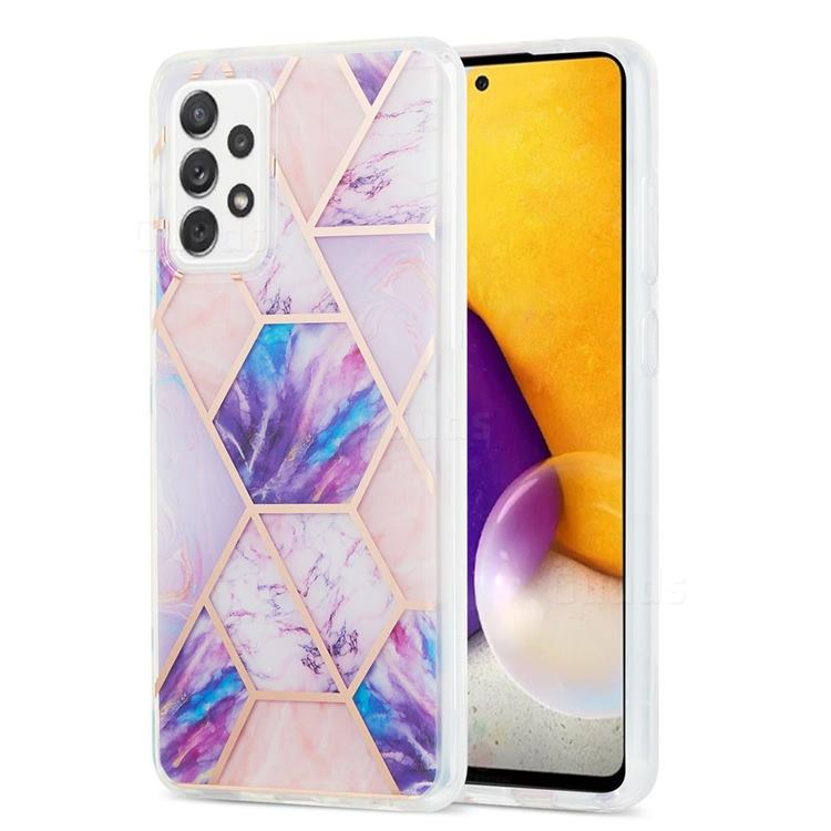 Purple Dream Marble Pattern Galvanized Electroplating Protective Case Cover for Samsung Galaxy A72 (4G, 5G)