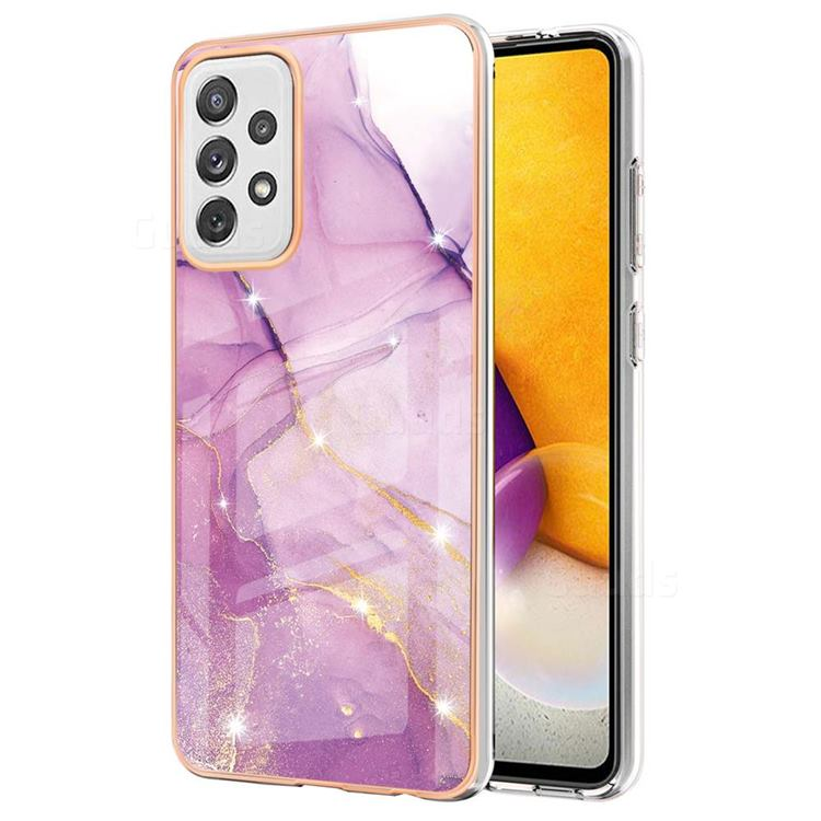 Dream Violet Electroplated Gold Frame 2.0 Thickness Plating Marble IMD Soft Back Cover for Samsung Galaxy A72 (4G, 5G)