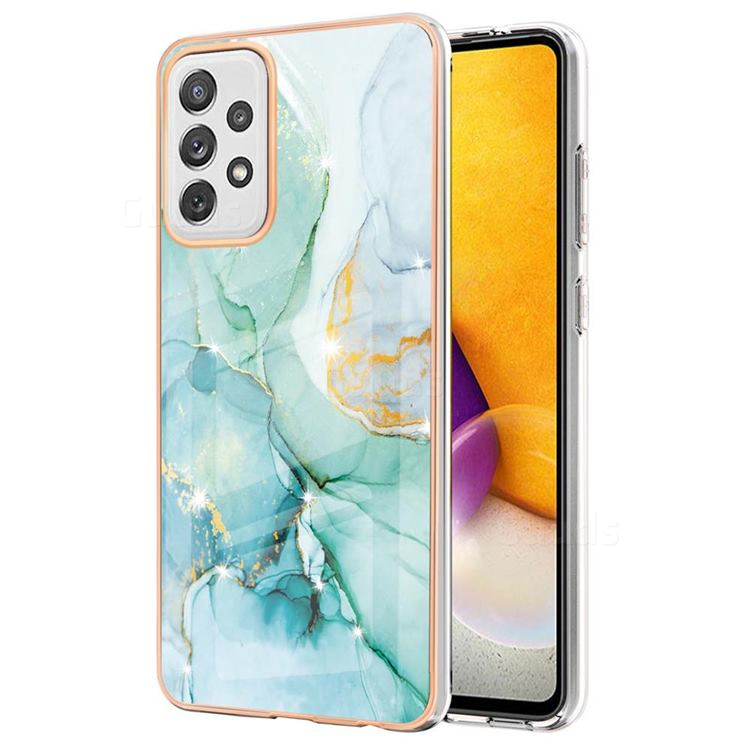 Green Silk Electroplated Gold Frame 2.0 Thickness Plating Marble IMD Soft Back Cover for Samsung Galaxy A72 (4G, 5G)