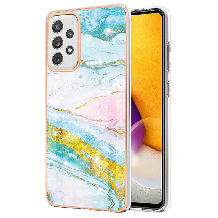 Green Golden Electroplated Gold Frame 2.0 Thickness Plating Marble IMD Soft Back Cover for Samsung Galaxy A72 (4G, 5G)