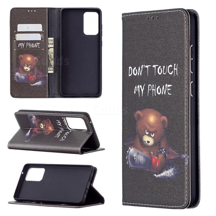Chainsaw Bear Slim Magnetic Attraction Wallet Flip Cover for Samsung Galaxy A72 5G