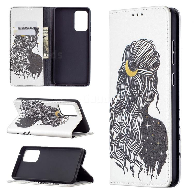 Girl with Long Hair Slim Magnetic Attraction Wallet Flip Cover for Samsung Galaxy A72 5G